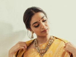 Keerthy Suresh in a mustard saree by kasturi kundal for a store opening-4