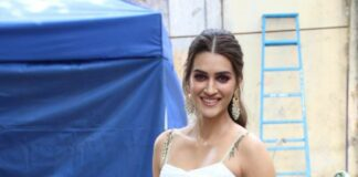 Kriti Sanon in white skirt set by Sukriti and Aakriti for hum do humare do promotions-1