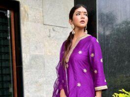 Lakshmi Manchu in a purple kurta set by Jasmine shah label-4