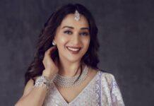 Madhuri Dixit in a lilac Manish Malhotra lehenga for DD-4
