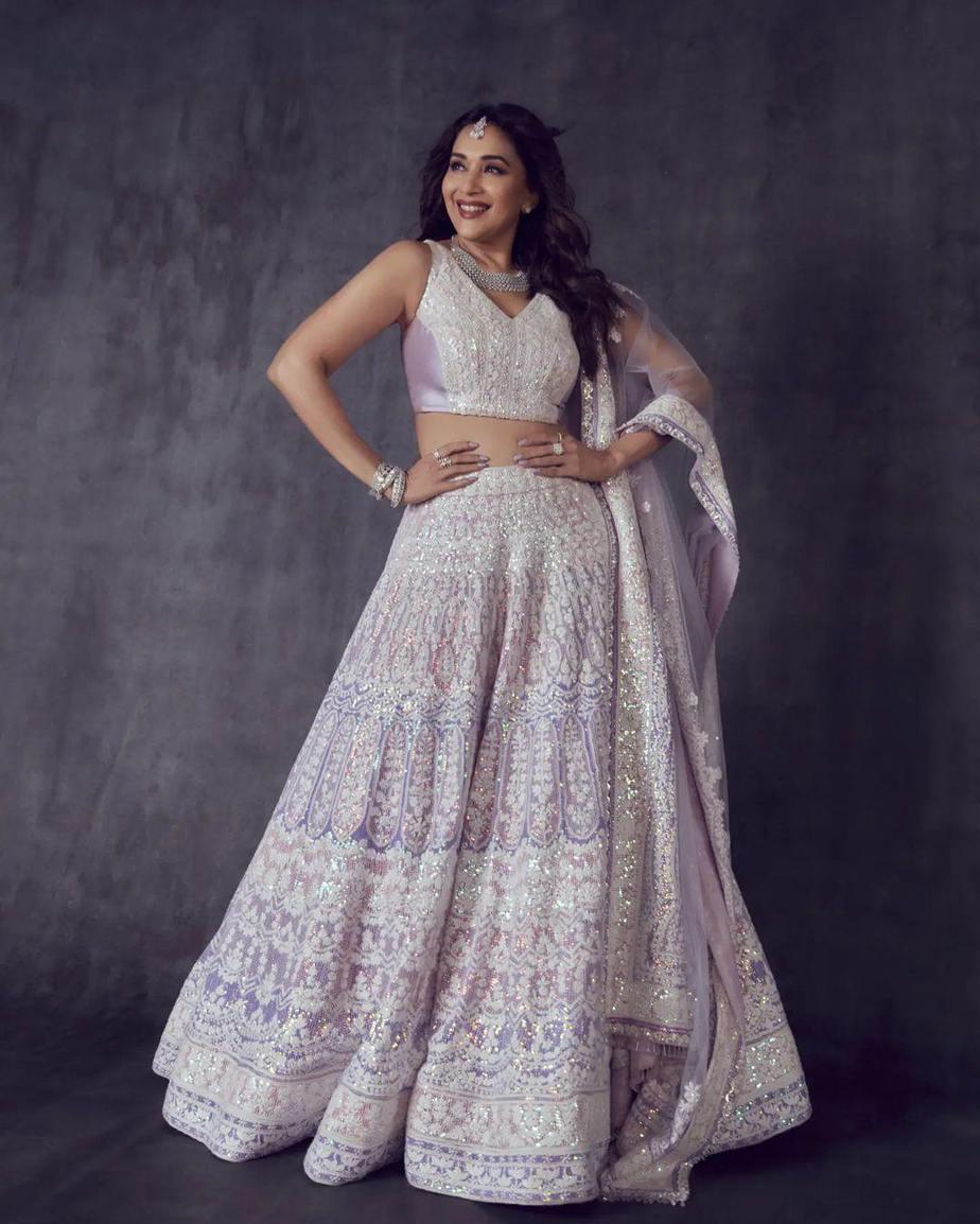 Madhuri Dixit in a lilac Manish Malhotra lehenga for DD