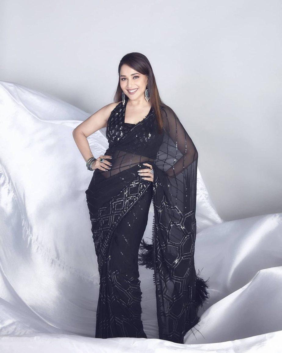 Madhuri Dixit in black Manish Malhotra saree for dd-1