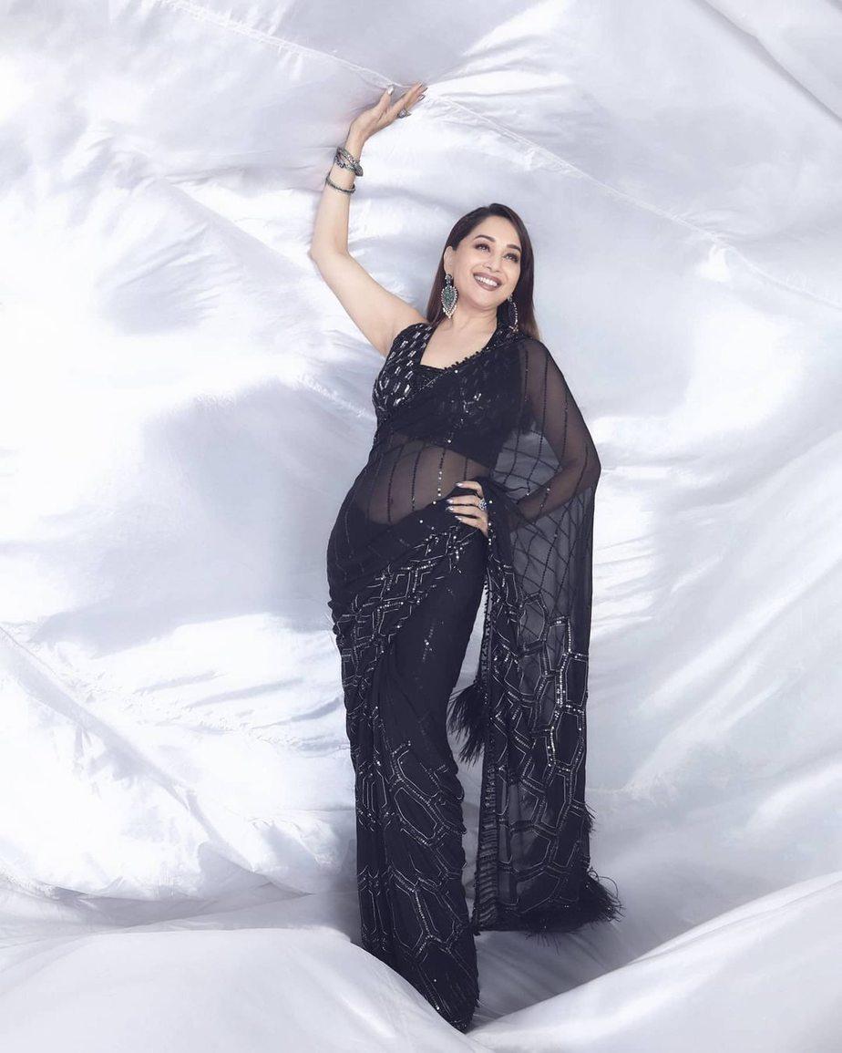 Madhuri Dixit in black Manish Malhotra saree for dd-3