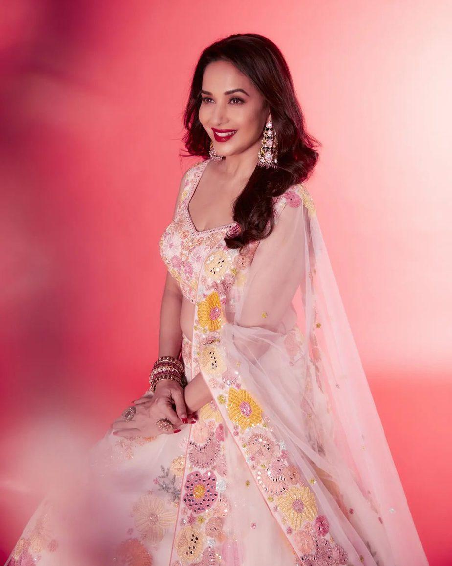 Madhuri dixit in a blush pink lehenga by Mishru for DD-1
