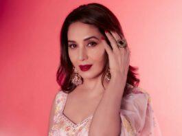 Madhuri dixit in a blush pink lehenga by Mishru for DD-2