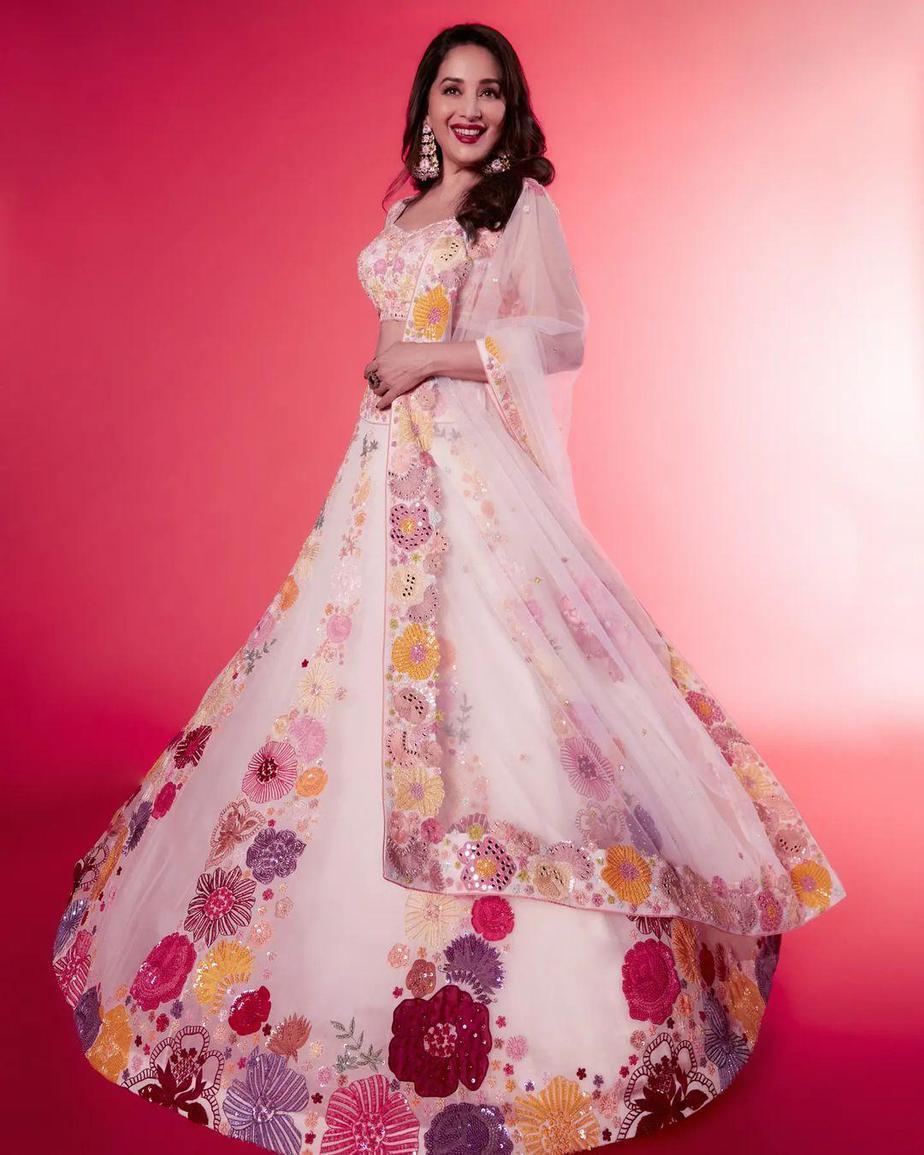 Madhuri dixit in a blush pink lehenga by Mishru for DD