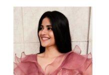 Megha Akash in a peach skirt set by Rehana Basheer