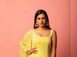 Niharika Konidela in yellow anita dongre sharara set for a wedding-2