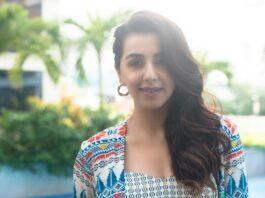Nikki Galrani in navy blue dhoti skirt set by Soup-2