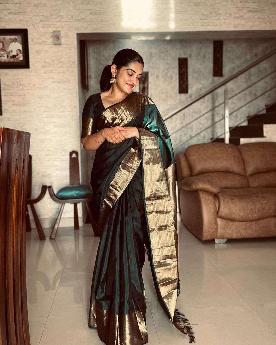 Nivetha Thomas in a green pattu saree-1