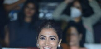 Pooja Hegde in a black saree for MEB grand success meet3