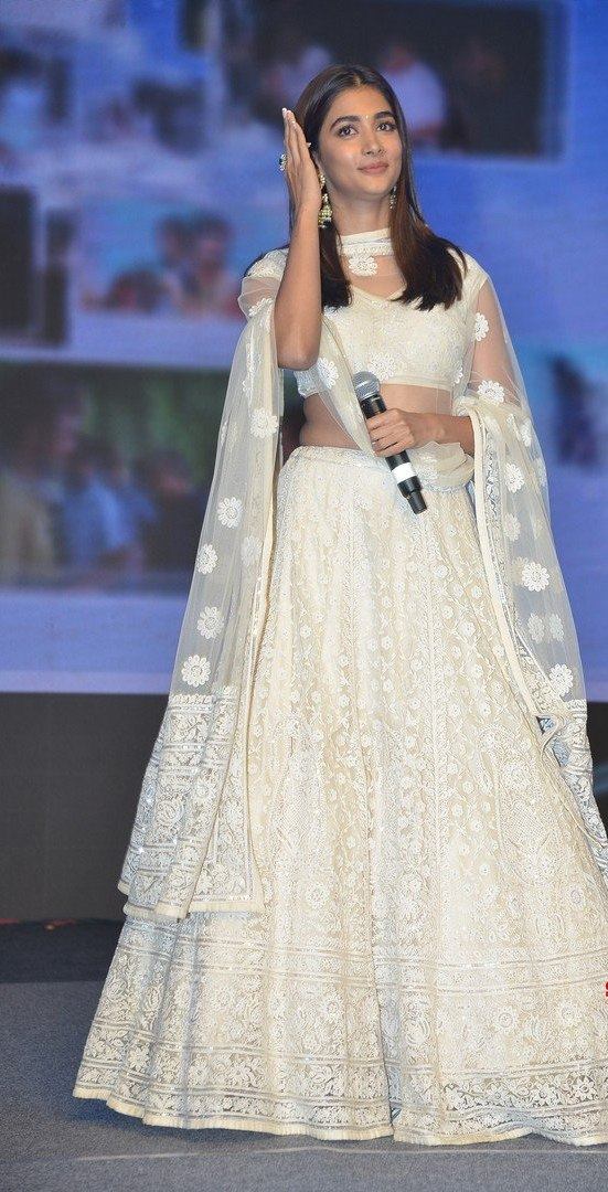 Pooja Hegde in a white lehenga for Most Eligible Bachelor pre-release event-1