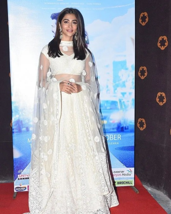 Pooja Hegde in a white lehenga for Most Eligible Bachelor pre-release event-4.1