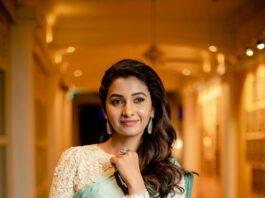 Priya Bhavani shankar in a mint green saree by Ashwini Thiyagarajan for ohmanna penne pre-release-3