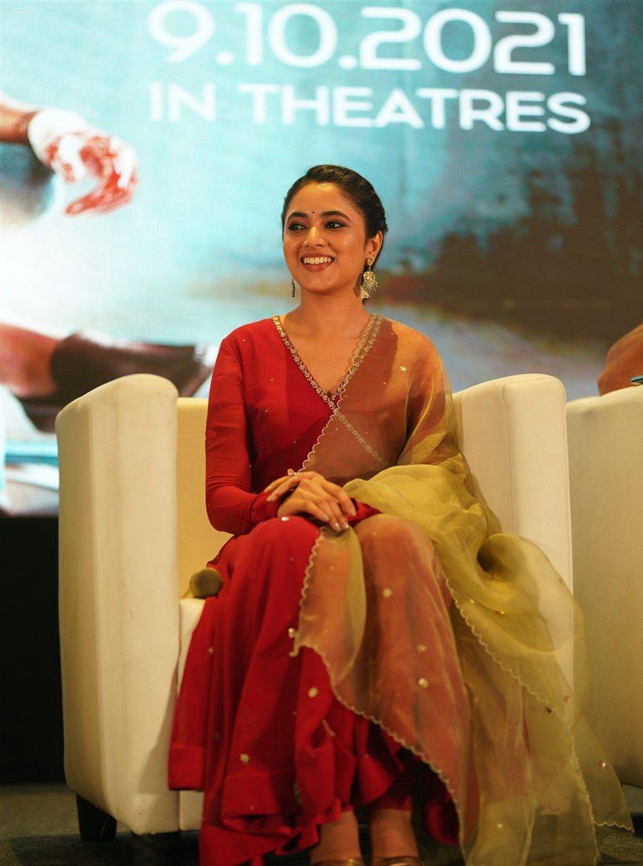 Priyanka Mohan in red anarkali set for Doctor promotions