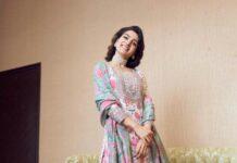 Samantha Ruth Prabhu in a teal green kurta set by Mrunalini Rao for an ad