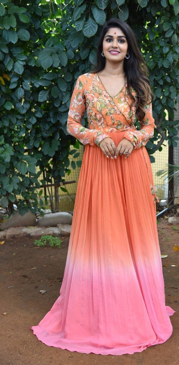 Sanjana Anand in an orange anarkali gown at new movie launch-1