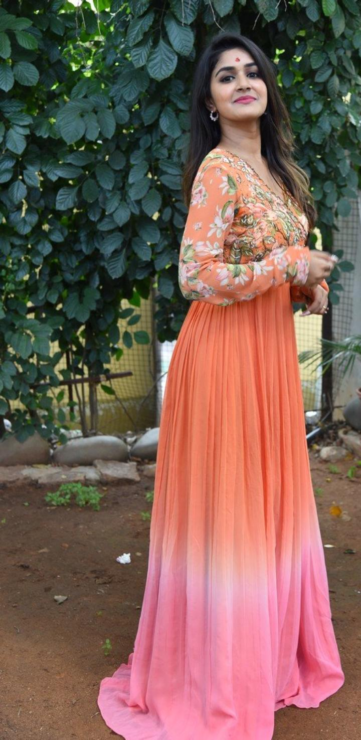 Sanjana Anand in an orange anarkali gown at new movie launch-2
