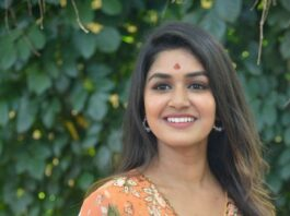 Sanjana Anand in an orange anarkali gown at new movie launch-3