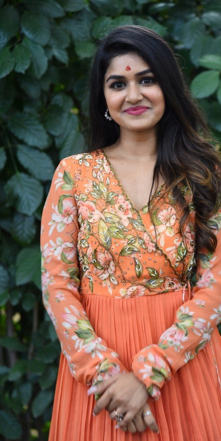 Sanjana Anand in an orange anarkali gown at new movie launch-4
