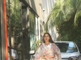 Sara ali khan in white kurta set with floral dupatta at maddock office
