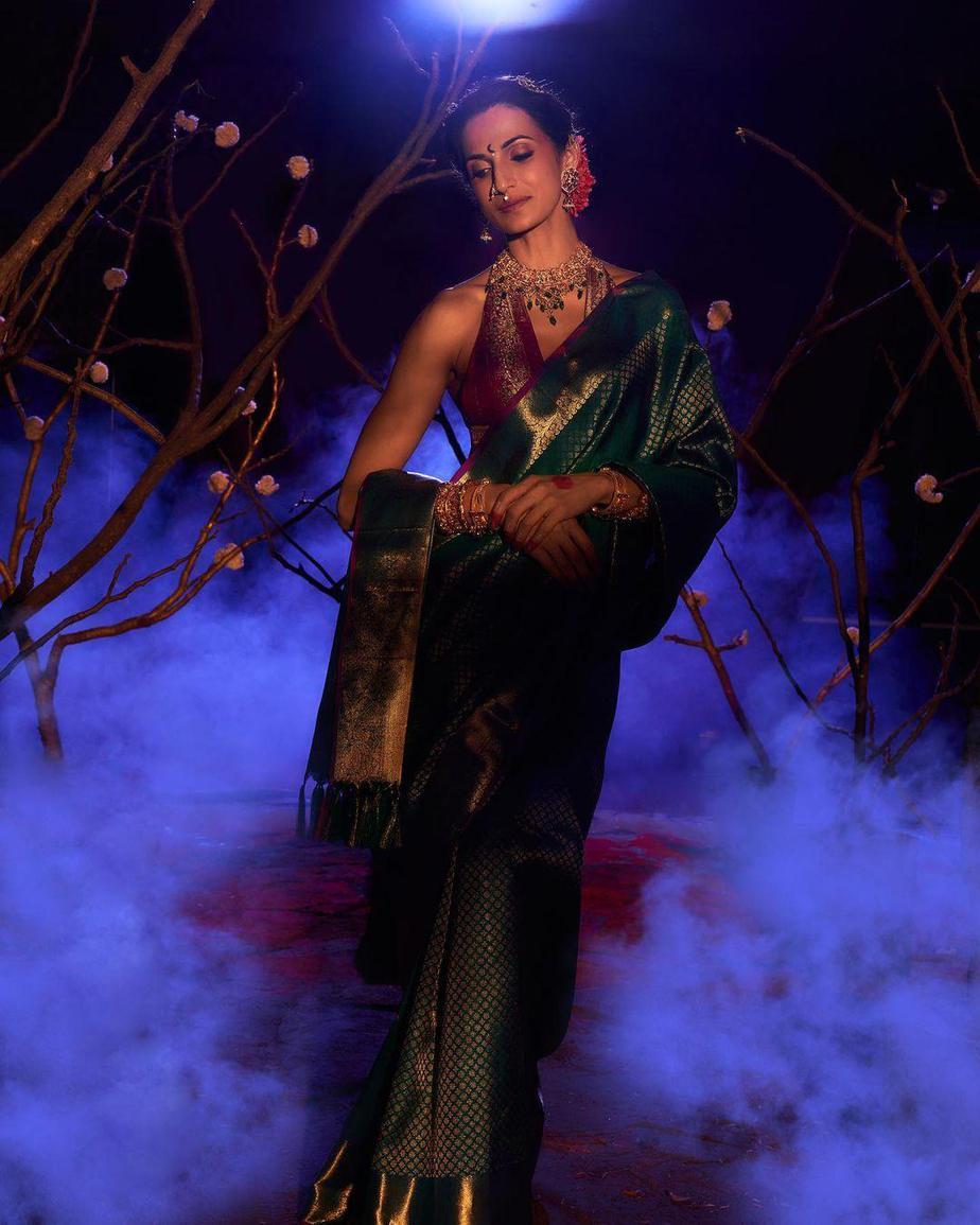 Shilpa Reddy in a green pattu saree by Kankatala-2
