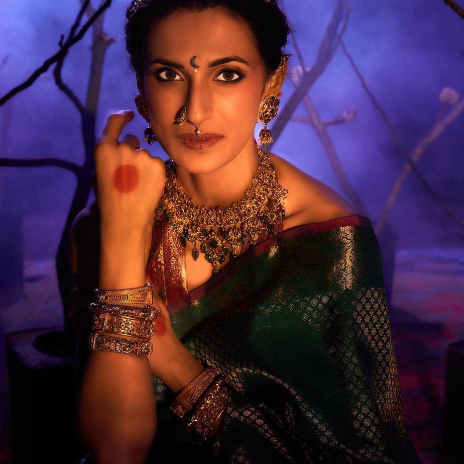 Shilpa Reddy in a green pattu saree by Kankatala-4