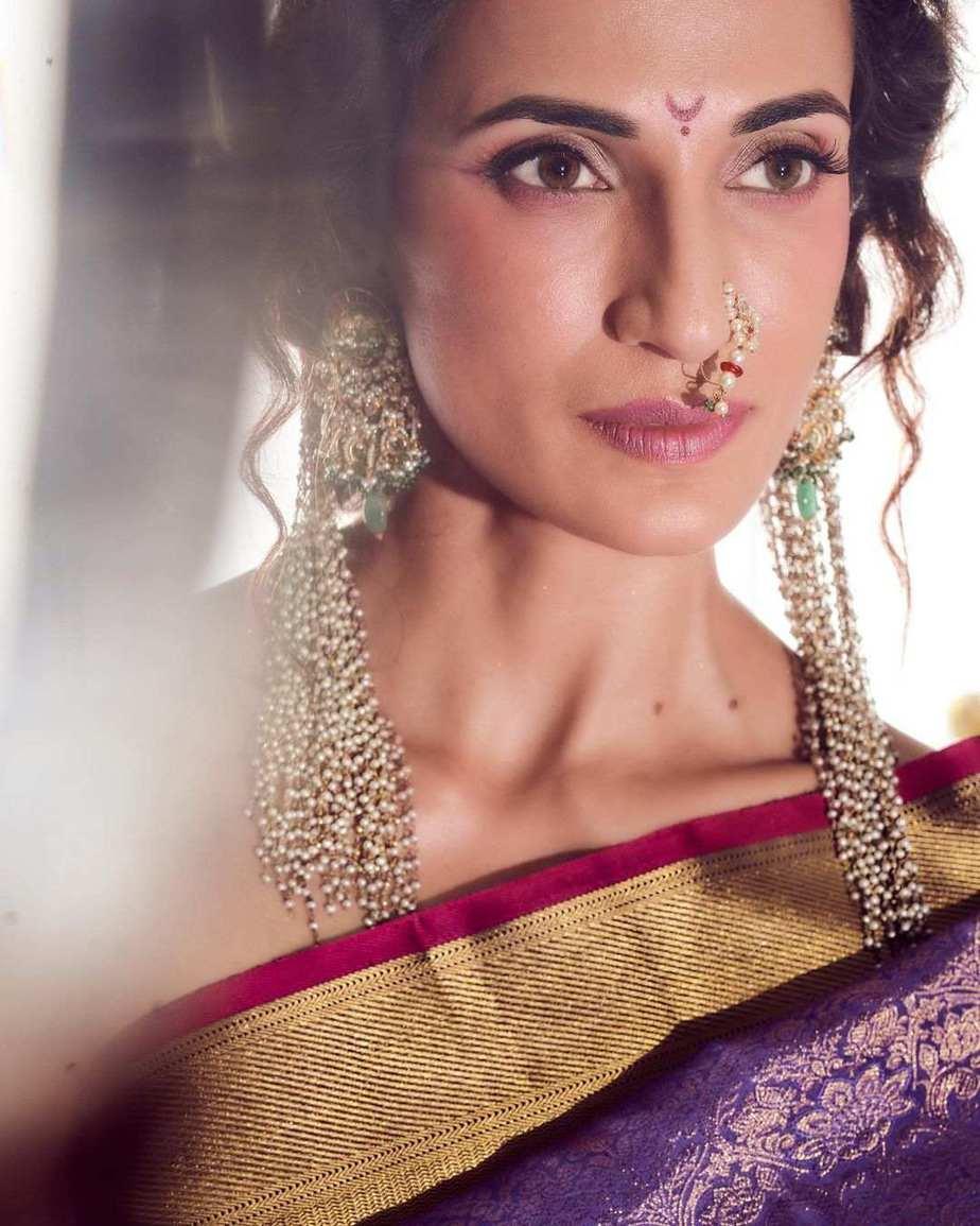 Shilpa Reddy in a kankatala saree for naavadurga series-lilac-1
