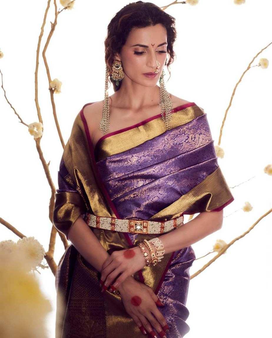 Shilpa Reddy in a kankatala saree for naavadurga series-lilac-2