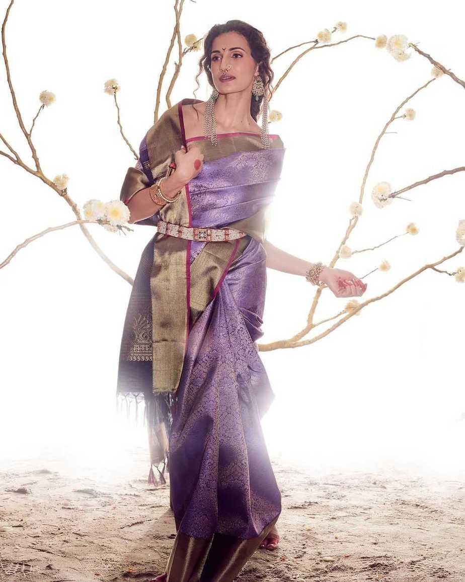 Shilpa Reddy in a kankatala saree for naavadurga series-lilac