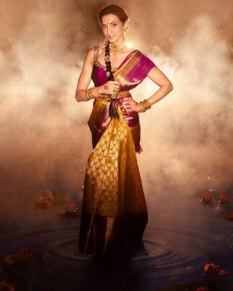 Shilpa Reddy in a kankatala saree for naavadurga series-yellow