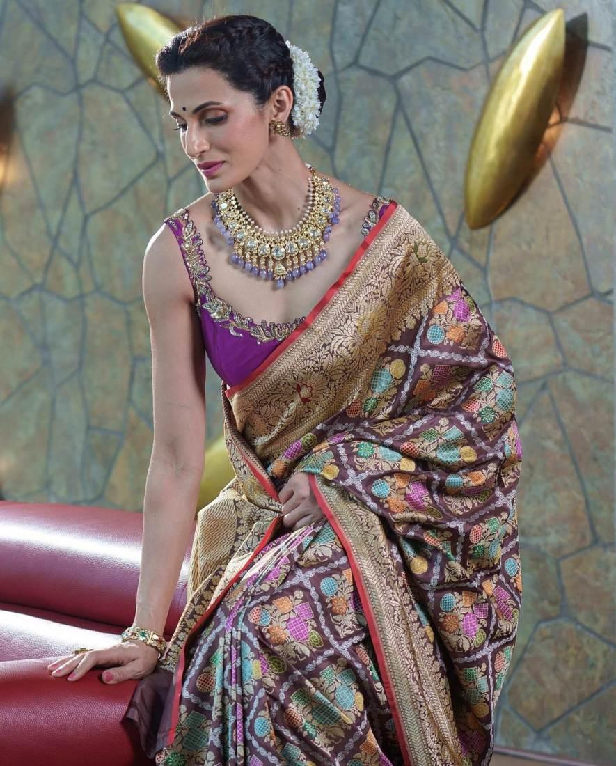 Shilpa reddy in a brown benarsi by Kanchi silks-1