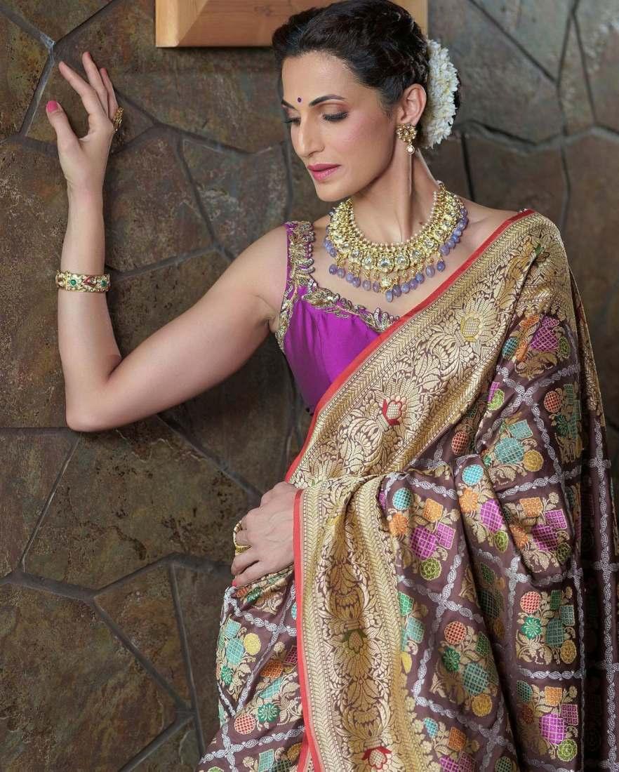 Shilpa reddy in a brown benarsi by Kanchi silks-3