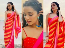 Shraddha Kapoor in a red saree by Yam India-Featured