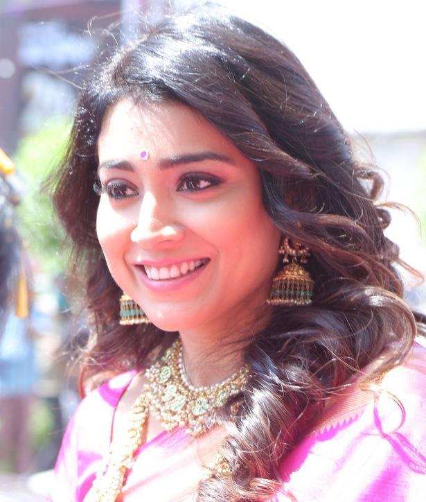 Shriya Saran in a pink pattu saree at shop opening-4