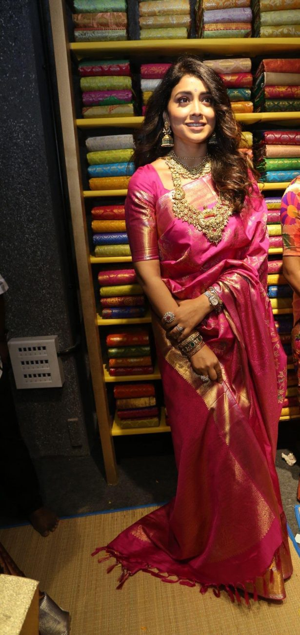 Shriya Saran in a pink pattu saree at shop opening