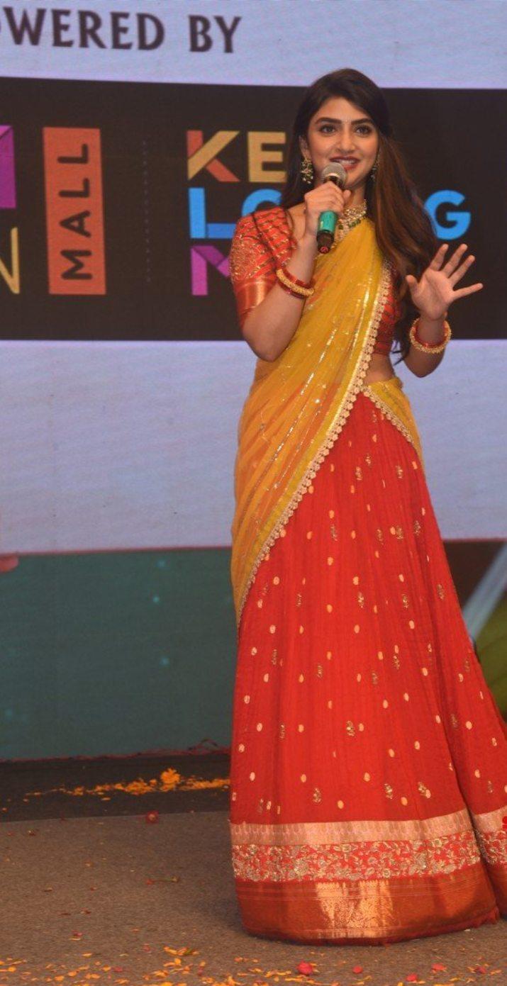 Sreeleela in a red half saree for Pelli SandaD pre-release event-1.2