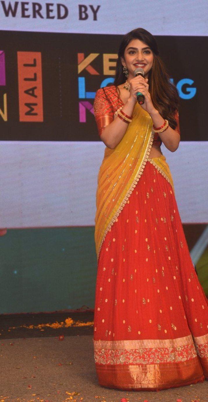 Sreeleela in a red half saree for Pelli SandaD pre-release event-1.3