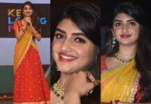 Sreeleela in a red half saree for Pelli SandaD pre-release event-featured1