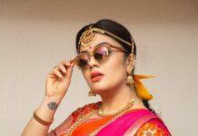 Sreemukhi in a pink pattu half saree by feathers btq-1