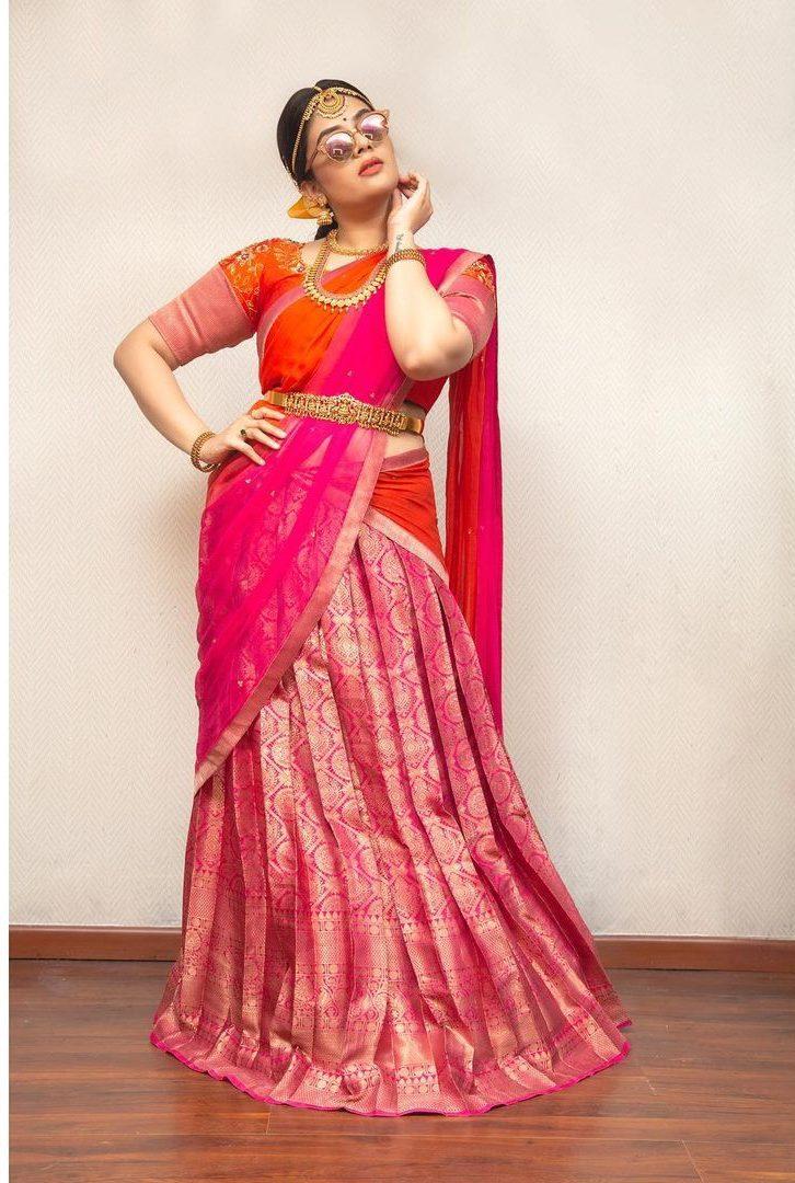 Sreemukhi in a pink pattu half saree by feathers btq-3