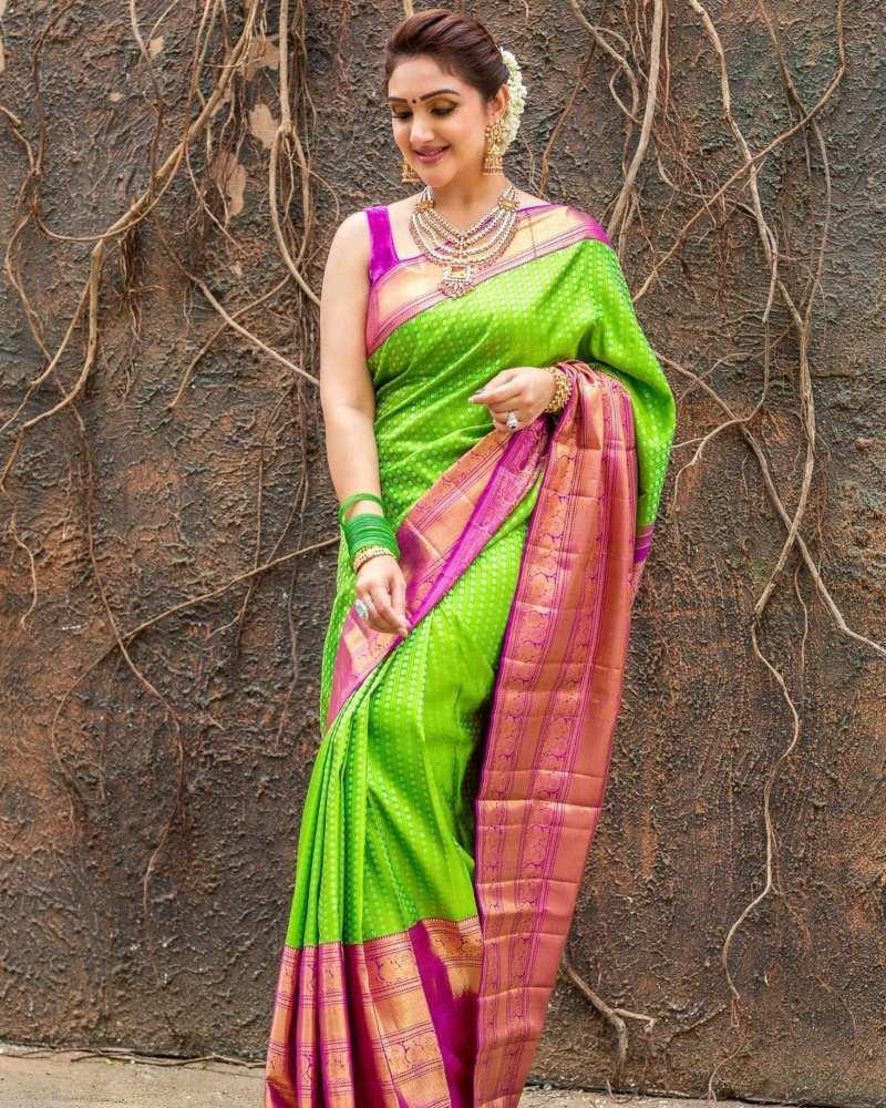 Sridevi Vijaykumar in a parrot green pattu saree brand mandir -2