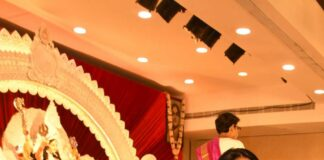 Tanisha Mukherjee in a pink shivangi kaliswal saree for durgashtami-4
