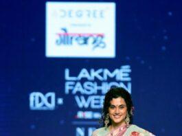 Tapsee Pannu in a pink pattu saree by Gaurang at LFW'21