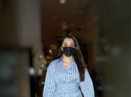 Trisha Krishnan in a blue striped shirt at the airport0