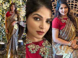 Viranica Manchu in a label vida saree for a wedding-FEATURED
