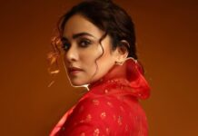 amruta in red saree for dusshera