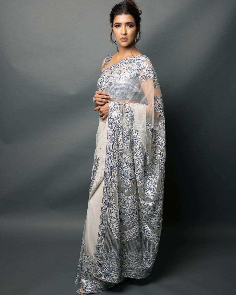 lakshmi Manchu in a white saree by manish Malhotra for SIIMA 2021-2